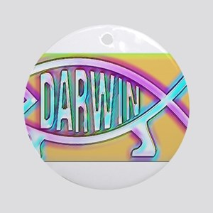 Original Darwin Fish (Neon) Round Ornament