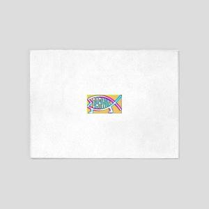 Original Darwin Fish (Neon) 5'x7'Area Rug