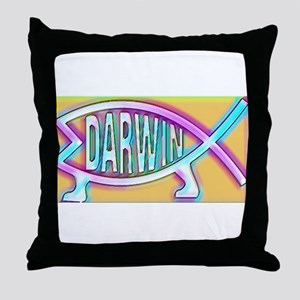 Original Darwin Fish (Neon) Throw Pillow
