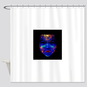 Neon Black-Light Drama Mask Shower Curtain