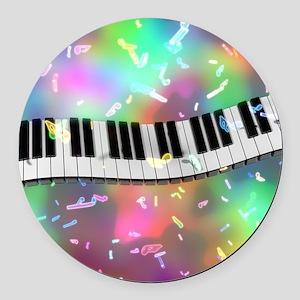 Rainbow Keyboard Round Car Magnet