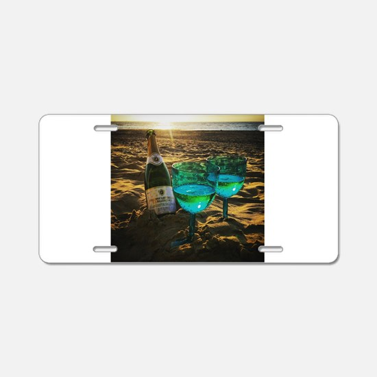 Beach with Drinks Aluminum License Plate