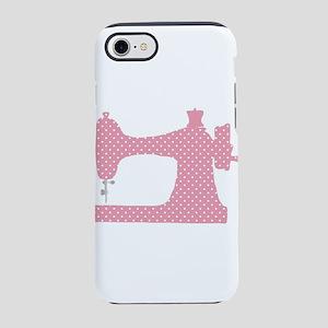 Polka Dot Sewing Machine iPhone 7 Tough Case