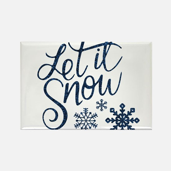Let it Snow Navy Magnets