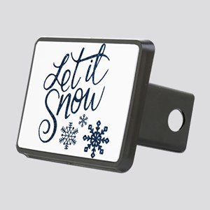 Let it Snow Navy Rectangular Hitch Cover