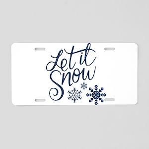 Let it Snow Navy Aluminum License Plate