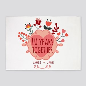 Personalized 10th Anniversary 5'x7'Area Rug