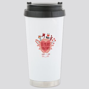 Personalized 10th Anniv Stainless Steel Travel Mug