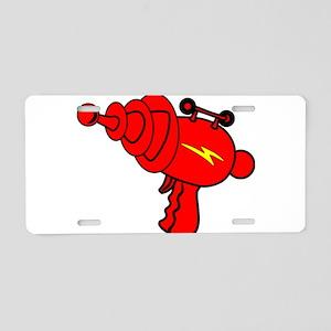 Red Ray Gun Aluminum License Plate
