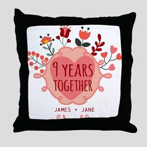 Personalized 9th Anniversary Throw Pillow