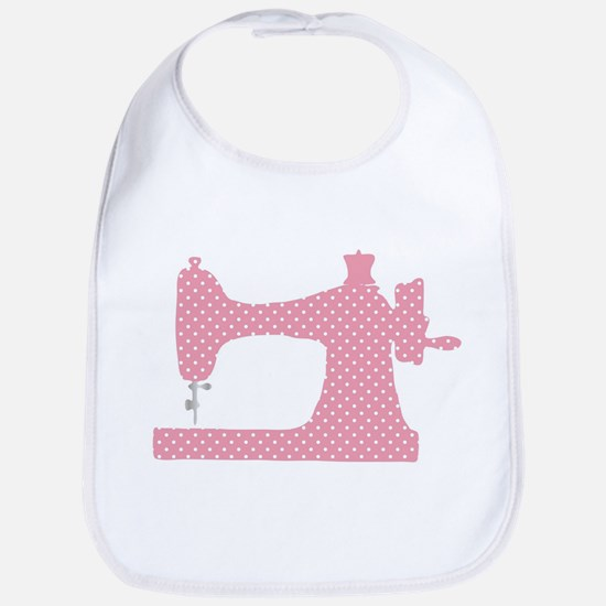 Polka Dot Sewing Machine Baby Bib