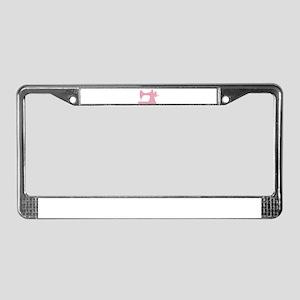 Polka Dot Sewing Machine License Plate Frame
