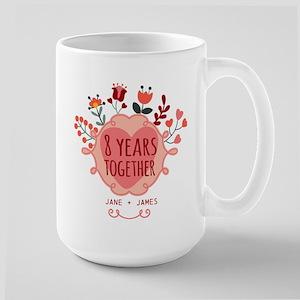 Personalized 8th Anniversary Large Mug