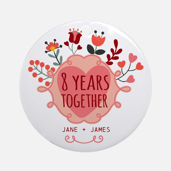 Personalized 8th Anniversary Ornament (Round)