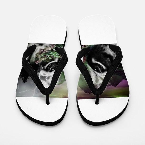 Through the Eyes of a Tiger Flip Flops