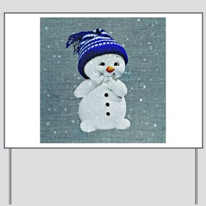 Cute Snowman on Light Blue Yard Sign