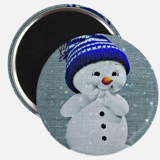Cute Snowman on Light Blue Magnets