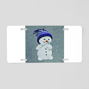 Cute Snowman on Light Blue Aluminum License Plate