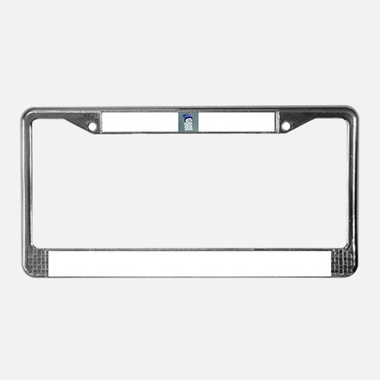Cute Snowman on Light Blue License Plate Frame