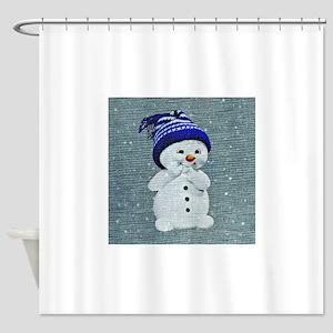 Cute Snowman on Light Blue Shower Curtain