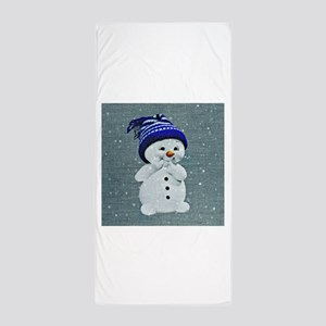 Cute Snowman on Light Blue Beach Towel