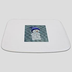 Cute Snowman on Light Blue Bathmat
