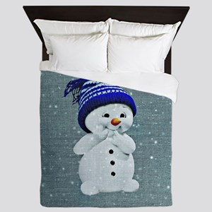 Cute Snowman on Light Blue Queen Duvet