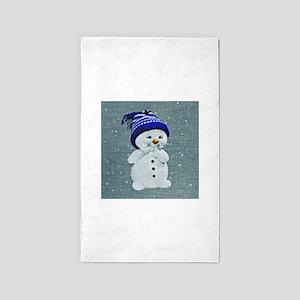 Cute Snowman on Light Blue Area Rug
