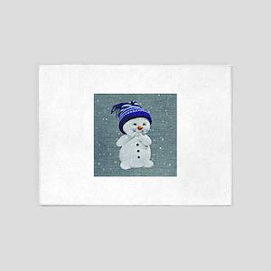 Cute Snowman on Light Blue 5'x7'Area Rug