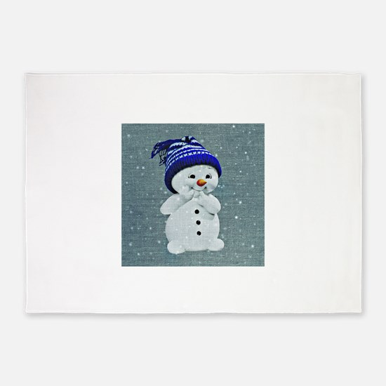 Cute Snowman on Light Blue 5'x7'Area Rug