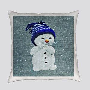 Cute Snowman on Light Blue Everyday Pillow