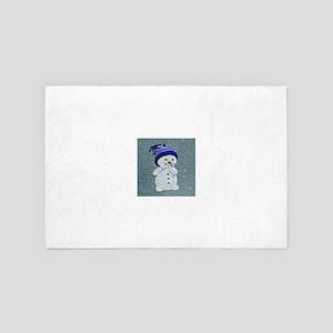 Cute Snowman on Light Blue 4' x 6' Rug