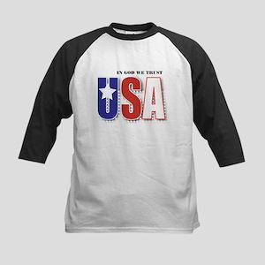 USA In God We Trust Kids Baseball Jersey