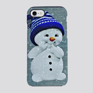 Cute Snowman on Light Blue iPhone 7 Tough Case
