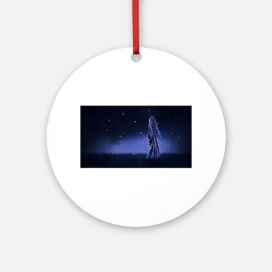 Woman Beneath the Stars Round Ornament