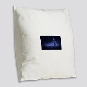 Woman Beneath the Stars Burlap Throw Pillow