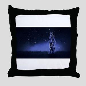 Woman Beneath the Stars Throw Pillow
