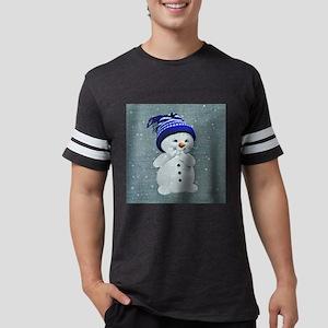 Cute Snowman on Light Blue T-Shirt