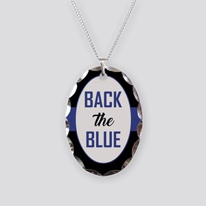 BACK the BLUE Necklace Oval Charm