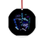Knit Blue Dark Ornament (Round)