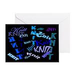 Knit Blue Dark Greeting Card