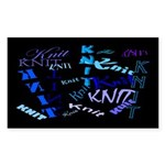Knit Blue Dark Rectangle Sticker