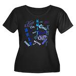 Knit Blue Dark Women's Plus Size Scoop Neck Dark T