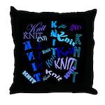Knit Blue Dark Throw Pillow