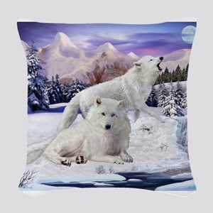 Snow Wolves Of The Wild Woven Throw Pillow