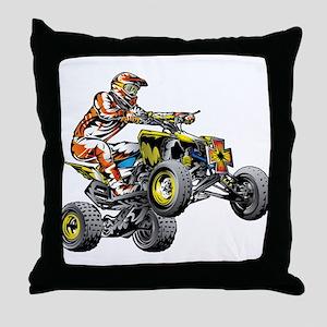 ATV Quad Racer Freestyle Throw Pillow