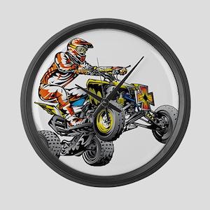 ATV Quad Racer Freestyle Large Wall Clock