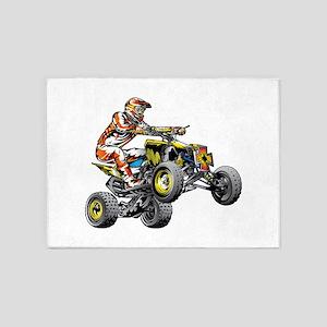 ATV Quad Racer Freestyle 5'x7'Area Rug