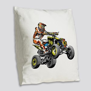 ATV Quad Racer Freestyle Burlap Throw Pillow
