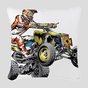 ATV Quad Racer Freestyle Woven Throw Pillow